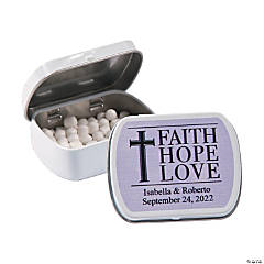 Personalized Faith, Hope, Love Wedding Mint Tins