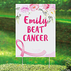Personalized Floral Pink Ribbon Yard Sign