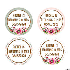 Personalized Floral Plaid Favor Stickers