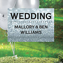 Personalized Glam Wedding Double-Sided Yard Sign