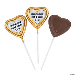 Personalized Gold Foil-Wrapped Chocolate Heart Lollipops