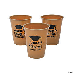 Personalized Gold Graduation Plastic Cups - 40 Ct.