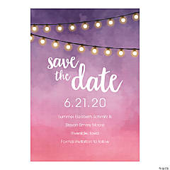 Personalized Hanging Lights Save the Date Cards