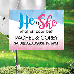 Personalized He or She Gender Reveal Yard Sign