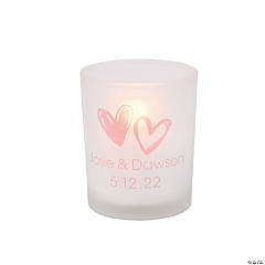 Personalized Hearts Frosted Votive Holders