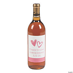 Personalized Hearts Wine Bottle Labels