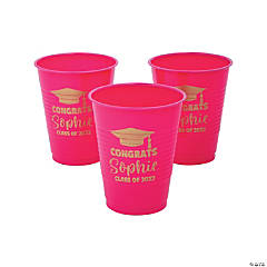 Personalized Hot Pink Graduation Plastic Cups - 40 Ct.