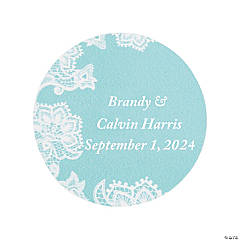 Personalized Lace Pattern Wedding Favor Stickers