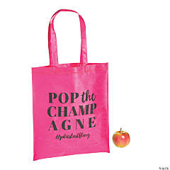 Personalized Large Pink Bachelorette Party Tote Bags