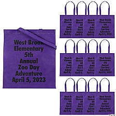 Personalized Large Purple Tote Bags with Text Color Choice