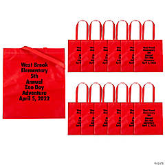 cde1b689eb87 Personalized Large Red Tote Bags with Text Color Choice