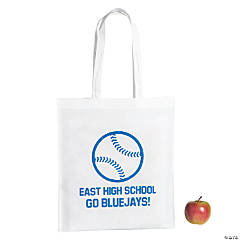 Personalized Large White Baseball Tote Bags