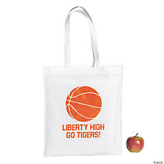 Personalized Large White Basketball Tote Bags