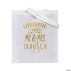 Personalized Large White Wedding Tote Bags