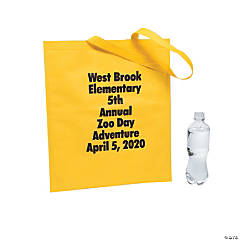 Personalized Large Yellow Tote Bags with Text Color Choice