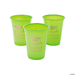 Personalized Lime Green Graduation Plastic Cups - 40 Ct.