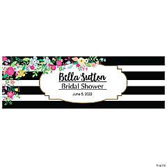 Personalized Medium Black & White Stripe Bridal Shower Vinyl Banner