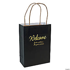 Personalized Medium Black Kraft Paper Welcome Bags with Gold Foil