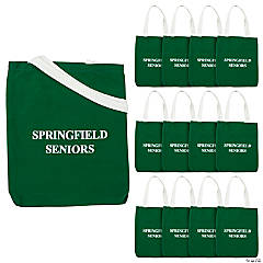 Canvas Personalized Medium Green Tote Bags