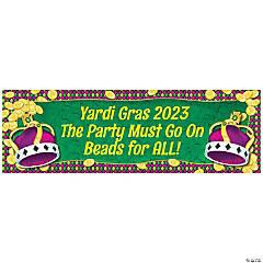 Personalized Medium Mardi Gras Coins & Crown Vinyl Banner