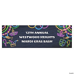 Personalized Medium Mardi Gras Glow Banner