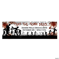 Personalized Medium Zombie Party Vinyl Banner Halloween Decoration