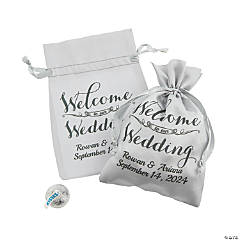 Personalized Mini Wedding Satin Drawstring Bags