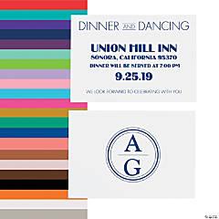 Personalized Modern Monogram Wedding Reception Cards