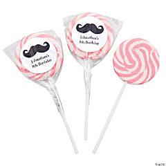 Personalized Moustache Pink Swirl Pops