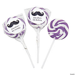 Personalized Mustache Bright Purple Swirl Pops