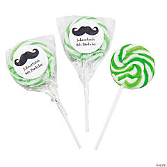 Personalized Mustache Green Swirl Pops