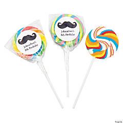 Personalized Mustache Rainbow Swirl Pops