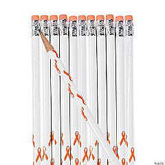 Personalized Orange Awareness Ribbon Pencils