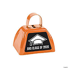Personalized Orange Graduation Cowbells