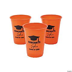 Personalized Orange Graduation Plastic Cups - 40 Ct.