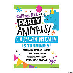 Personalized Party Animal Birthday Party Invitations