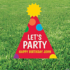Personalized Party Hat Yard Sign