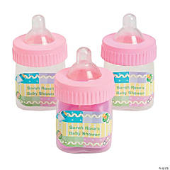 Personalized Pastel Pink Baby Bottle Favor Containers