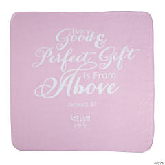 Personalized Pink Religious Baby Blanket