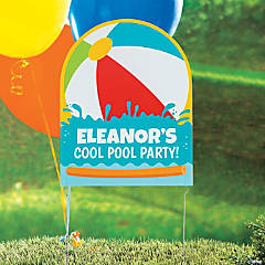 Personalized Pool Party Yard Sign