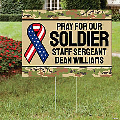 Personalized Pray for Our Soldier Double-Sided Yard Sign
