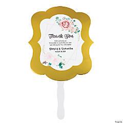 Personalized Premium Blush Floral Hand Fans with Gold Foil