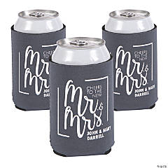 Personalized Premium Cheers Mr. & Mrs. Charcoal Can Coolers