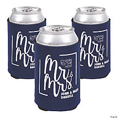 Personalized Premium Cheers Mr. & Mrs. Navy Blue Can Coolers