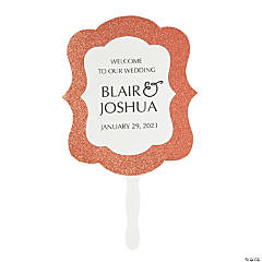 Personalized Premium Glitter Welcome Hand Fans