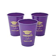 Personalized Purple Graduation Plastic Cups - 40 Ct.