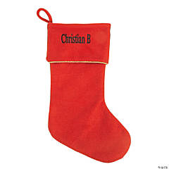 personalized red christmas stocking with green print