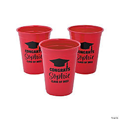 Personalized Red Graduation Plastic Cups - 40 Ct.