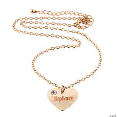Personalized Rose Gold Crystal Heart Necklace