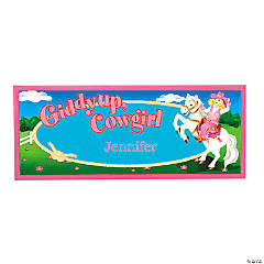 Personalized Small Pink Cowgirl Plastic Banner